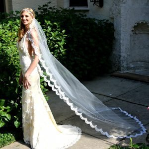 Fitted lace beaded wedding gown